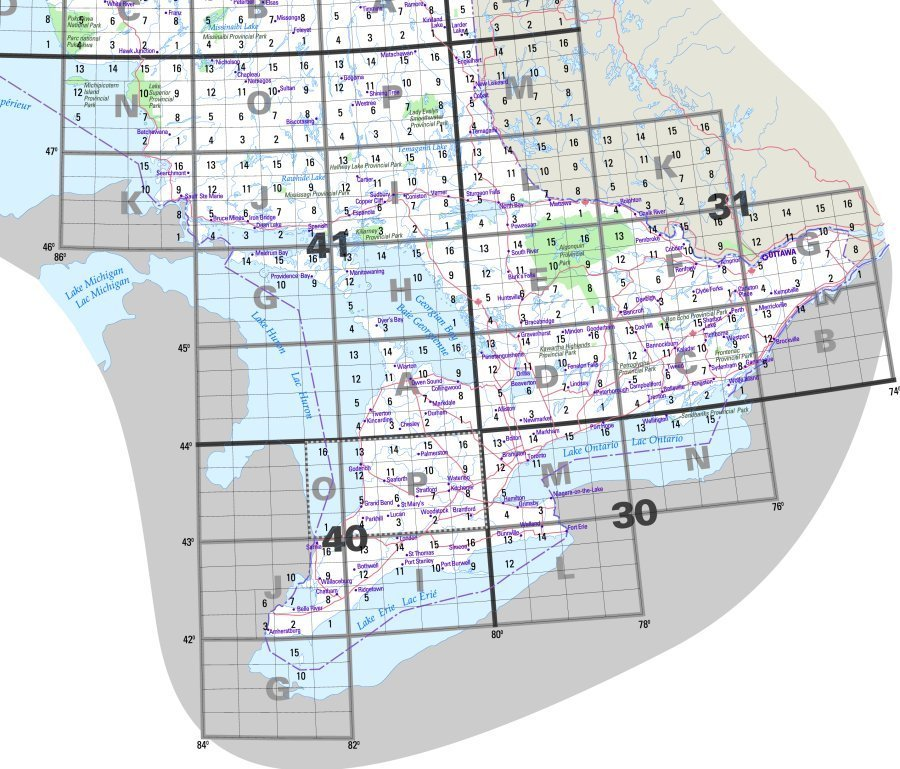 Ontario Topographic Map.Topographic Map Index Southern Ontario